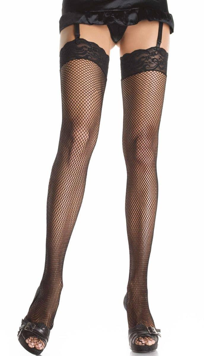 b285d1b3ad60f ... Plus Size Black Fishnet Thigh High Stockings. Women's Sexy Black Fishnet  Lace Top Thigh Highs