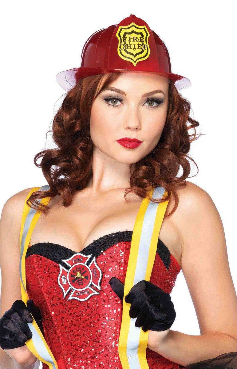 484926ad675 Fireman Adults Deluxe Red Costume Hat
