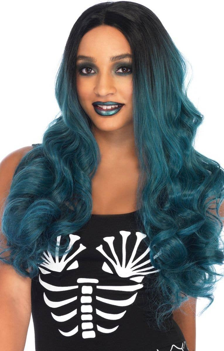 Women s Long Dark Turquoise and Black Ombre Mermaid Wig Front View ea42ab4892