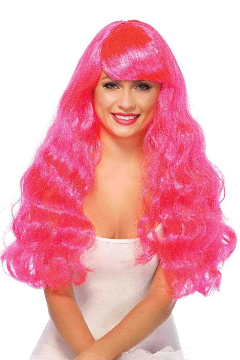 Bright Pink Wavy Wig Women S Hot Pink Wig Long Wavy
