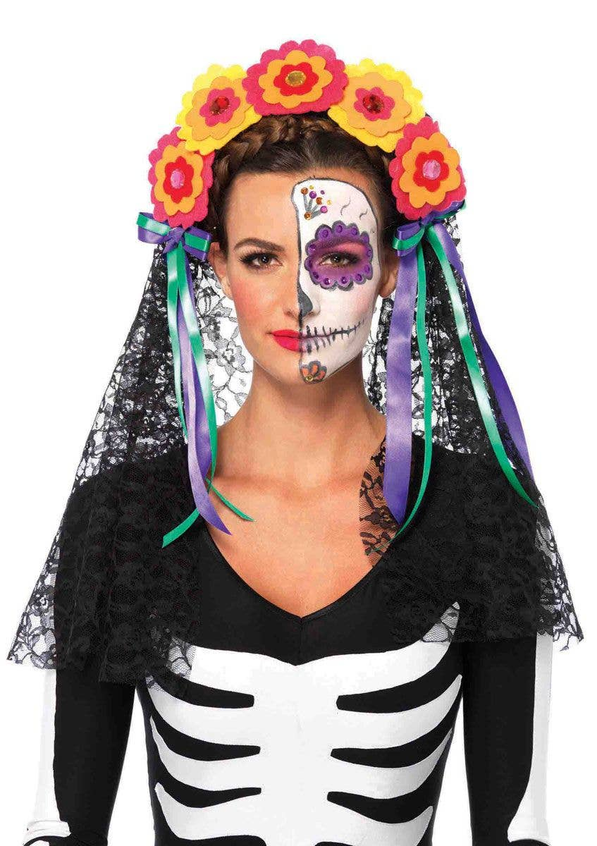 f290bba688e Day of The Dead Flower Headband with Veil