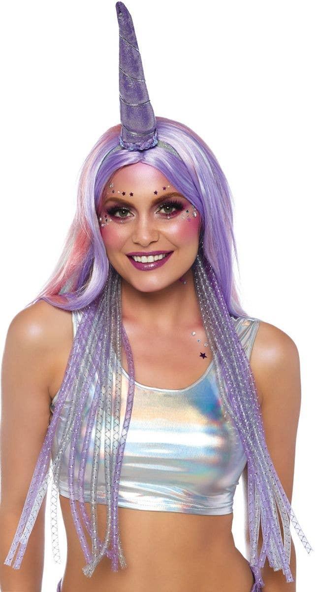 Women s Shimmer Purple Unicorn Horn On Headband With Mane 8129ba47dbc