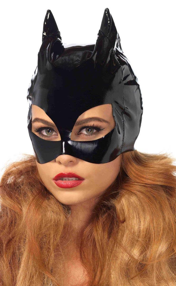 Black Vinyl Womens Catwoman Costume Mask Main Image