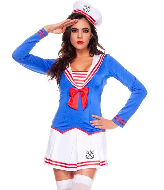 Sexy Blue And White Women s Sexy Sailor Anchors Away Fancy Dress Costume  With Red Details Close f90900fbef50