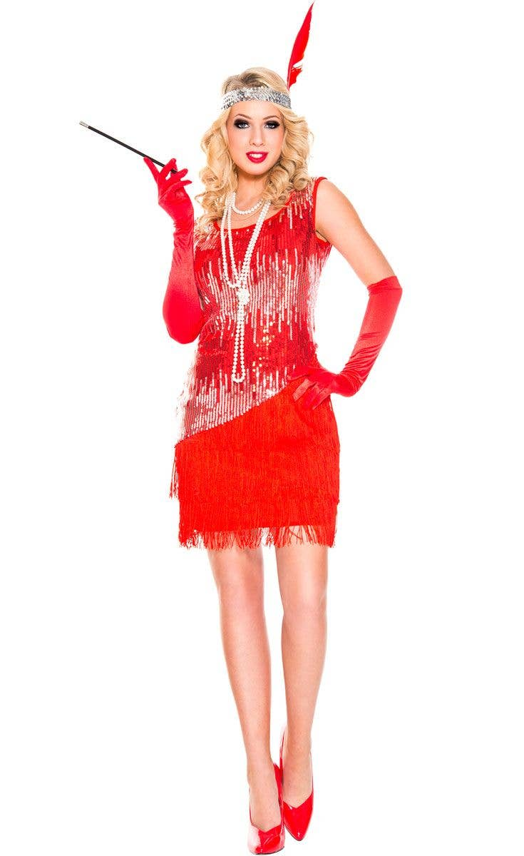 5222be2a707 Great Gatsby Women s Red Flapper Dress Up Front View