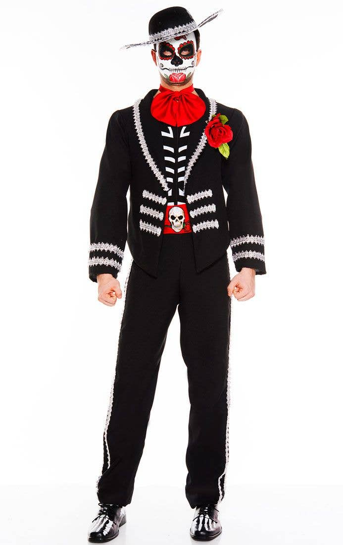 Mexican Miriachi Mens Costume Day Of The Dead Mens Fancy Dress