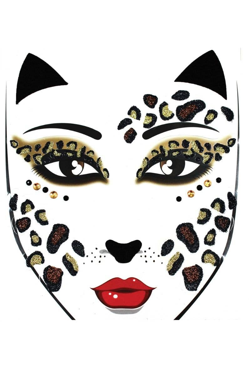 f0fd98152a633 Black, Brown And Gold Glitter Leopard Spotted Face Stickers Costume  Accessory Main Image
