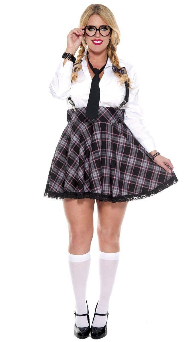 790c925b30a Sexy Grey Tartan Plus Size Women s School Girl Costume Front