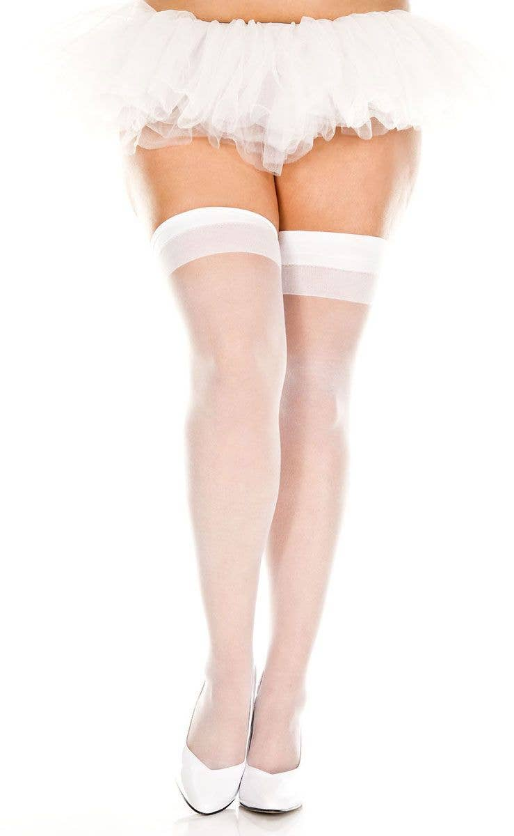 a146a30678c White Sheer Plus Size Thigh High Stockings
