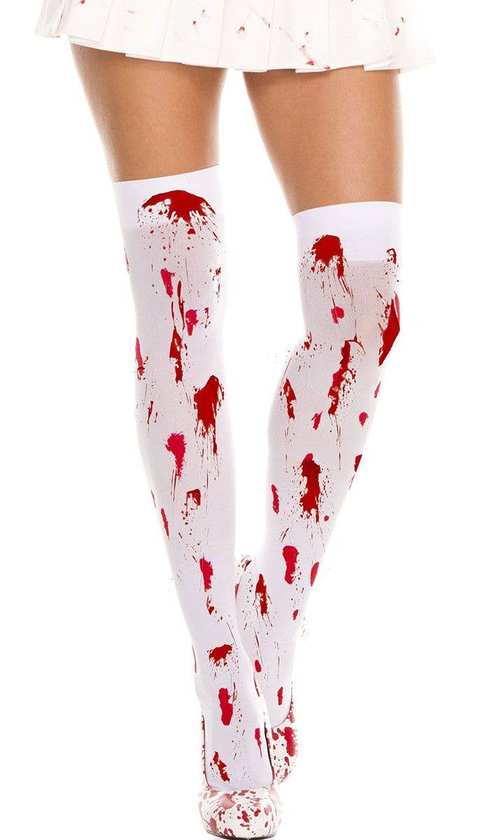 43ae6ce0f77bb Bloody Thigh High Halloween Stockings | Blood Splatter Stockings