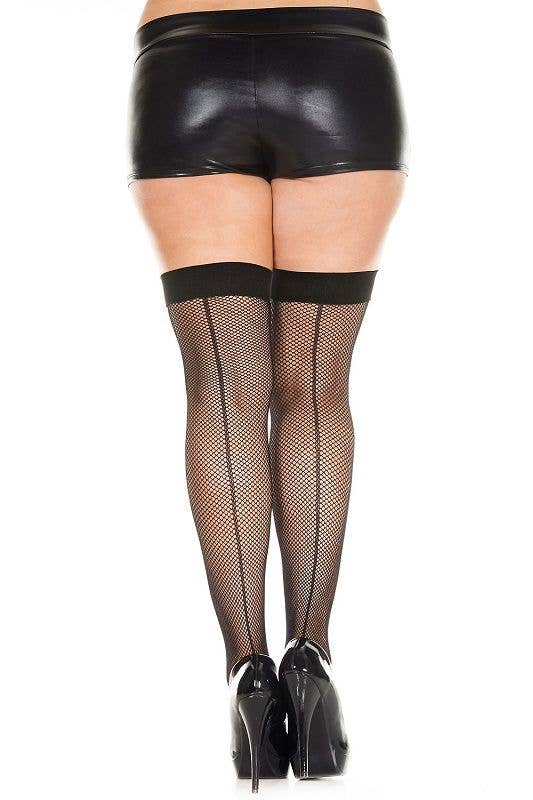 405fc75afb Plus Size Women s Black Fishnet Thigh High Stockings with Backseam
