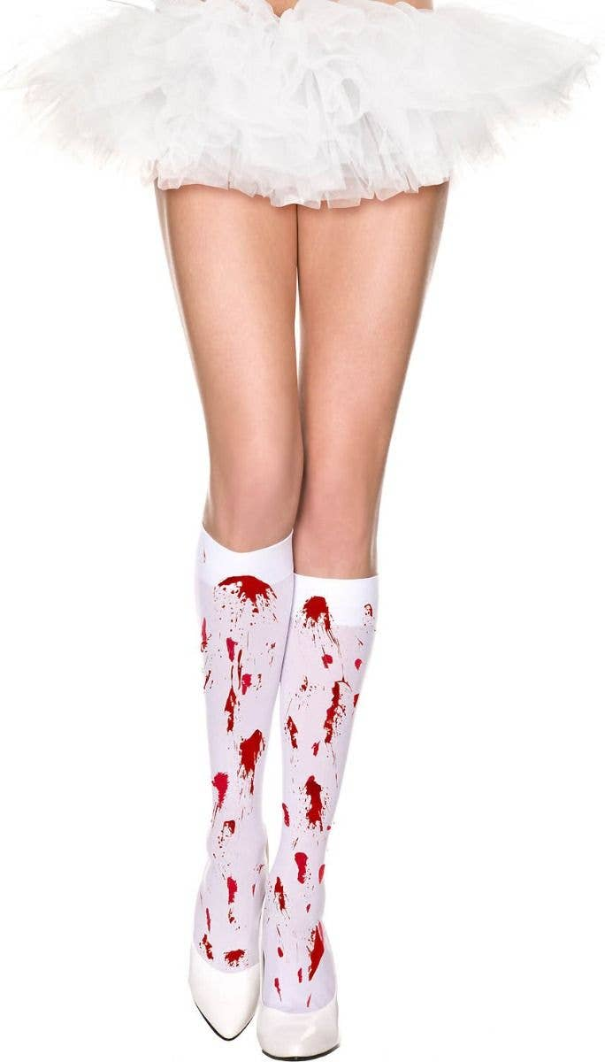 a57c790609703 Blood Splattered Women's White Opaque Knee High Halloween Stockings