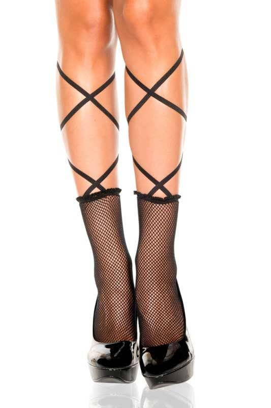 5990498c238 Womens Lace Up Black Fishnet Ankle High Socks - Main Image