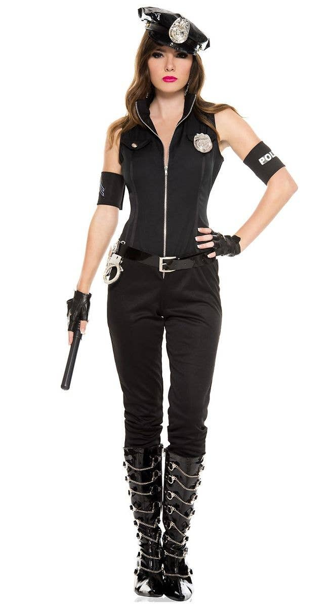 Bombshell Cop Sexy Womenu0027s Police Officer Costume Front View  sc 1 st  Heaven Costumes & Sexy Police Officer Womenu0027s Costume | Sexy Cop Fancy Dress Costume