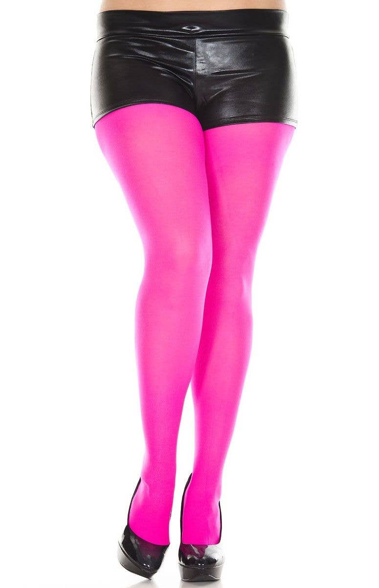 54a5f8810f3 Neon Pink Opaque Women s Plus Size Pantyhose