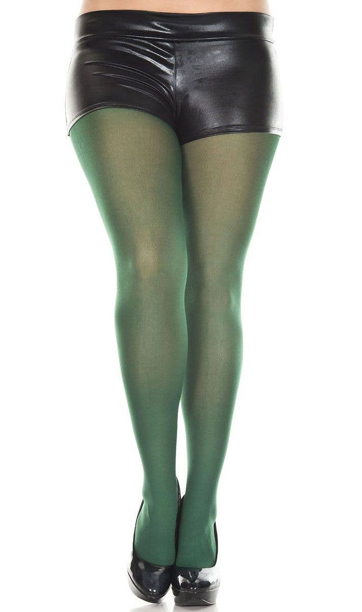 d658eb6ee8684 Opaque Green Women's Plus Size Pantyhose | Green Plus Size Tights