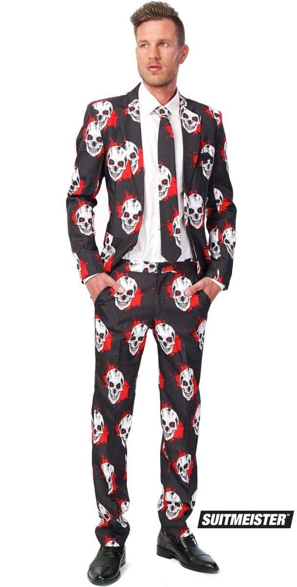 1073da4abd89 Skull Halloween Suit Men's Costume   Bloody Skull Halloween Suit Costume
