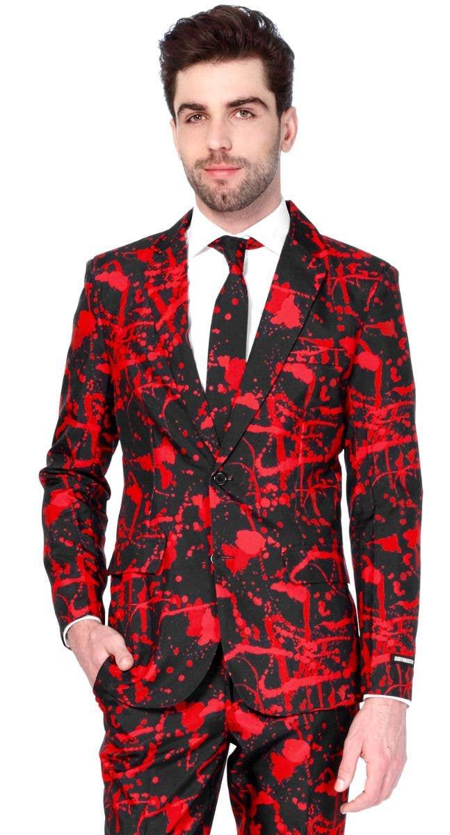 761c8cbbc5eb Men's Blood Splatter Halloween Suitmeister Opposuit Fancy Dress Zoom front  Image
