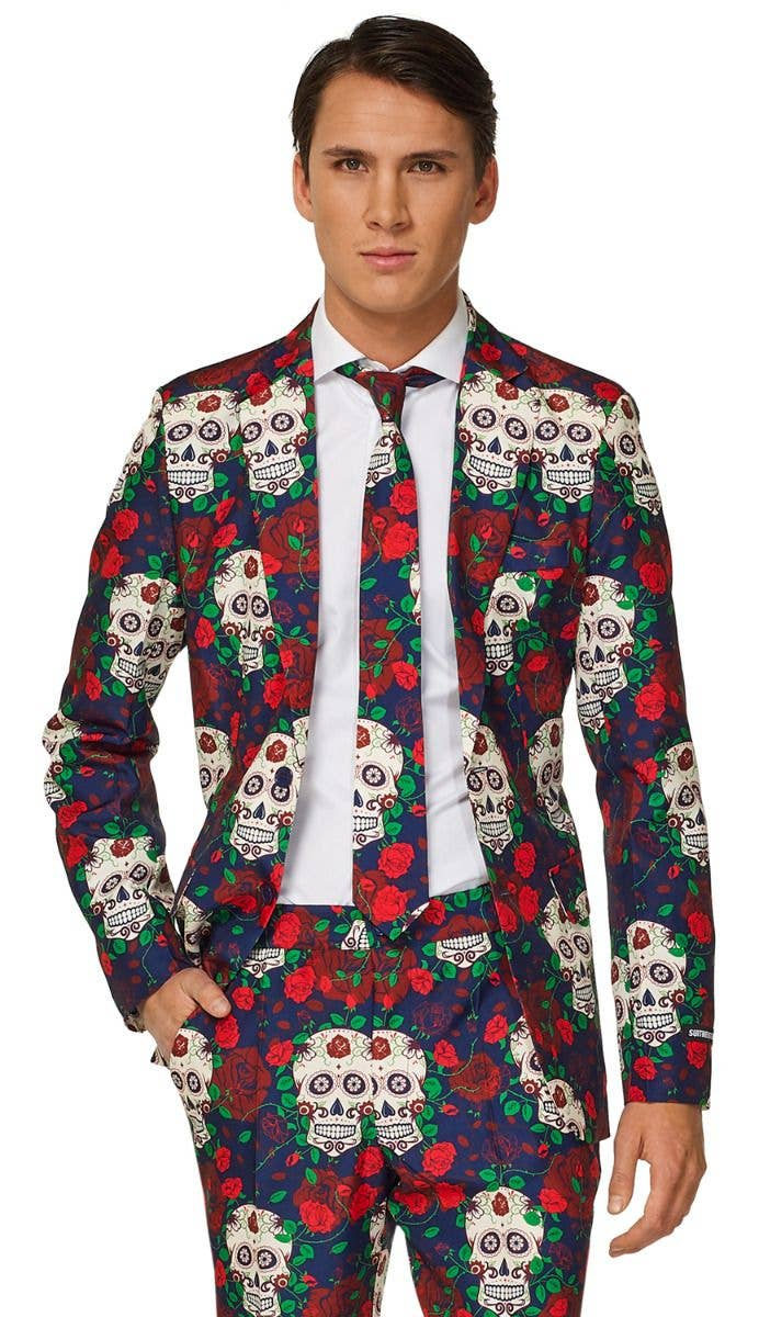 Day Of The Dead Suit Mens Costume Sugar Skull Suitmeister Costume