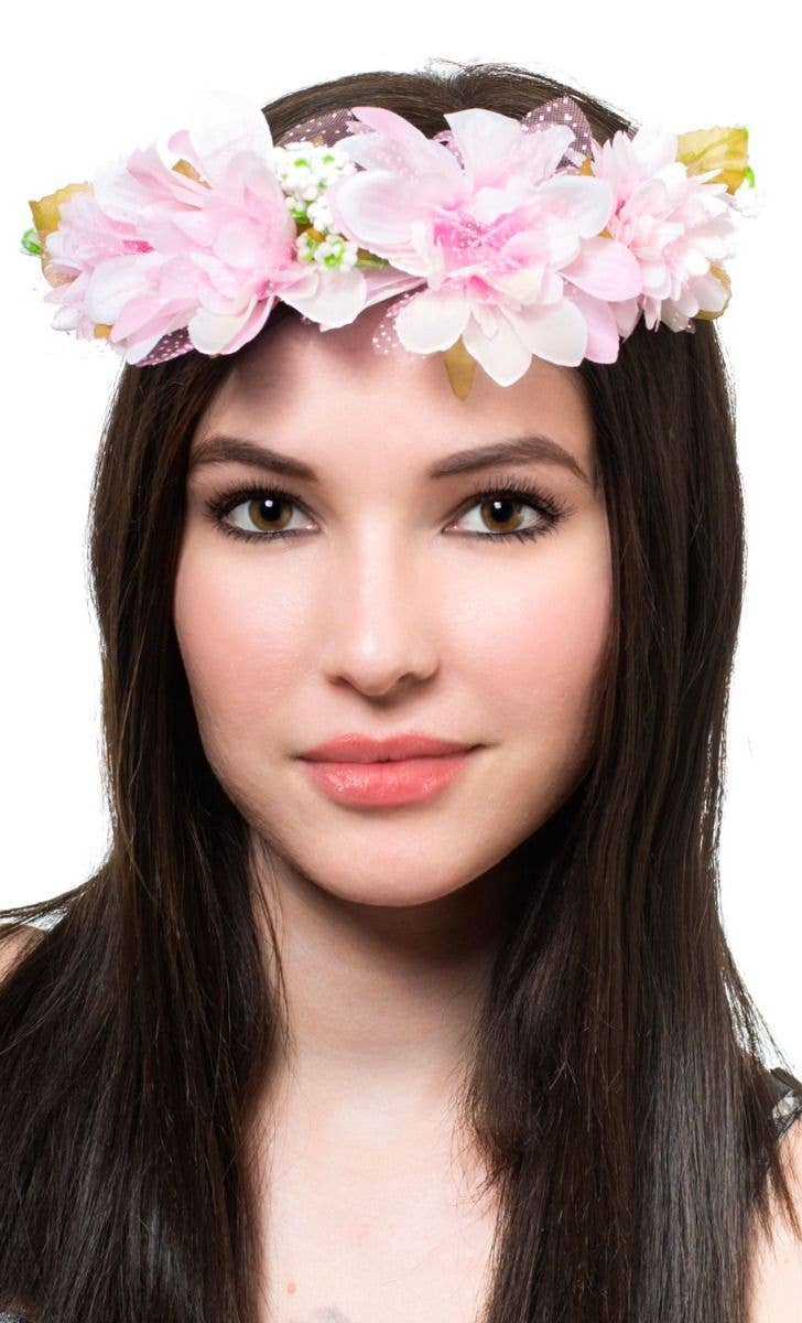 Women s Pink Flower Head Garland Costume Accessory Main Image 4aa6f12b52a