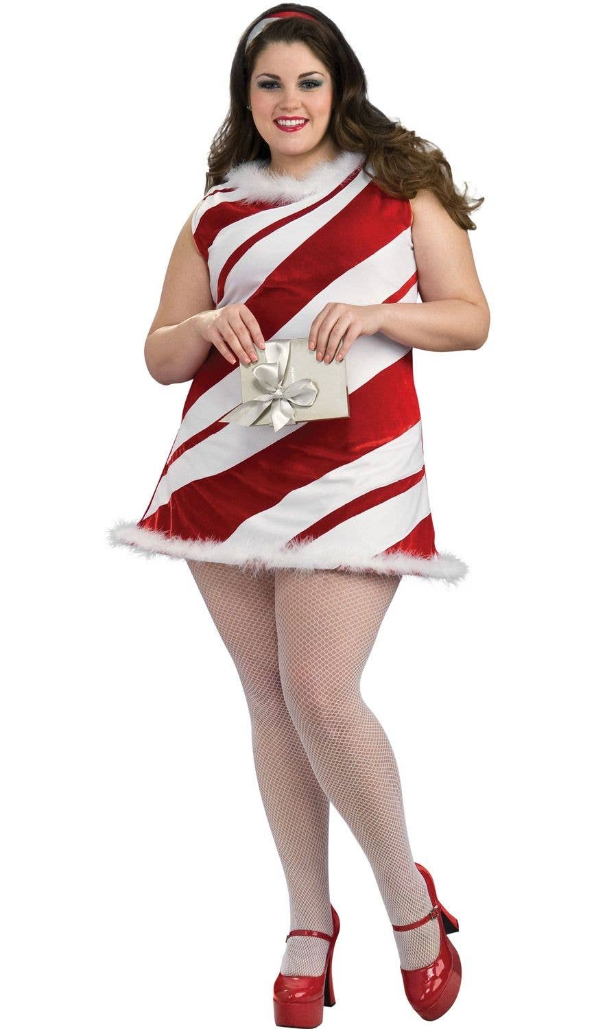 Plus Size Christmas Costumes.Ms Candy Cane Sexy Plus Size Women S Costume