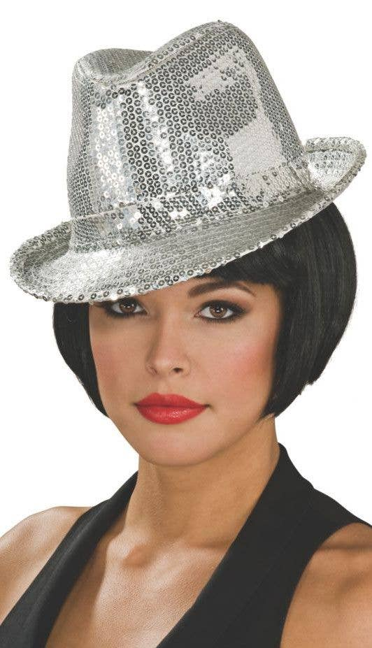 Women s Silver Sequined 20 s Fedora Hat Costume Accessory Image 1 400168833cc