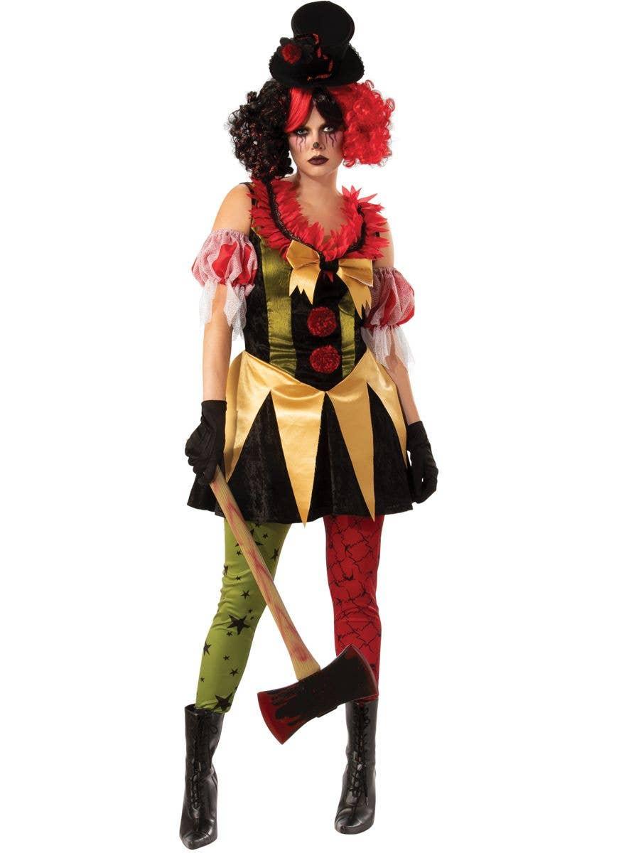 Scary Clown Halloween Costume.Evil Clown Women S Halloween Fancy Dress Costume