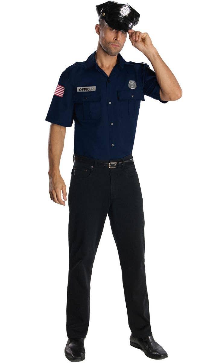 f28d2499d9 Men s Police Cop Occupation Fancy Dress Costume Shirt and Hat Main Image