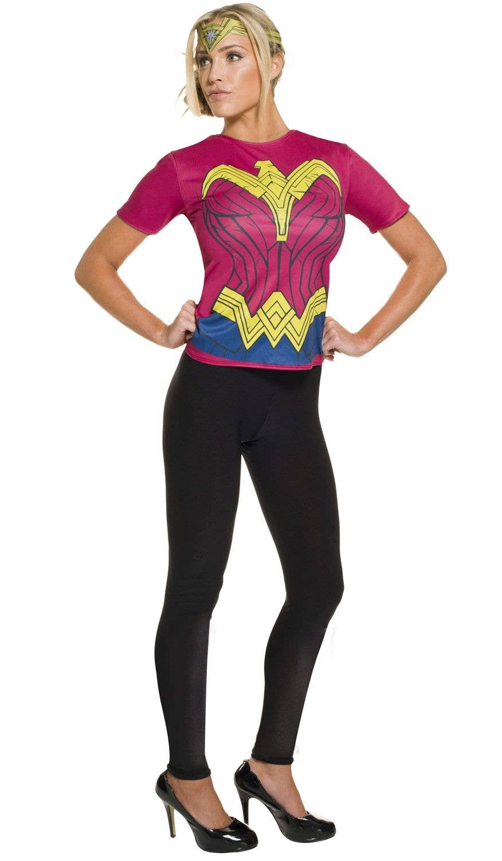 Wonder Woman Fancy Dress Costume Shirt Womens Superhero T Shirt