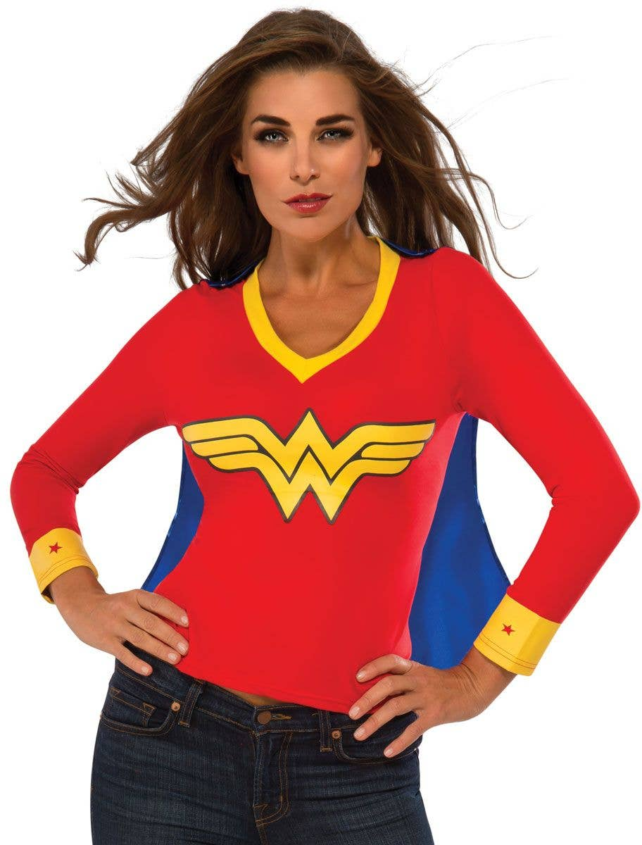 ebe5d13cc Wonder Woman Women's Fancy Dress Costume Shirt with Attached Cape front View