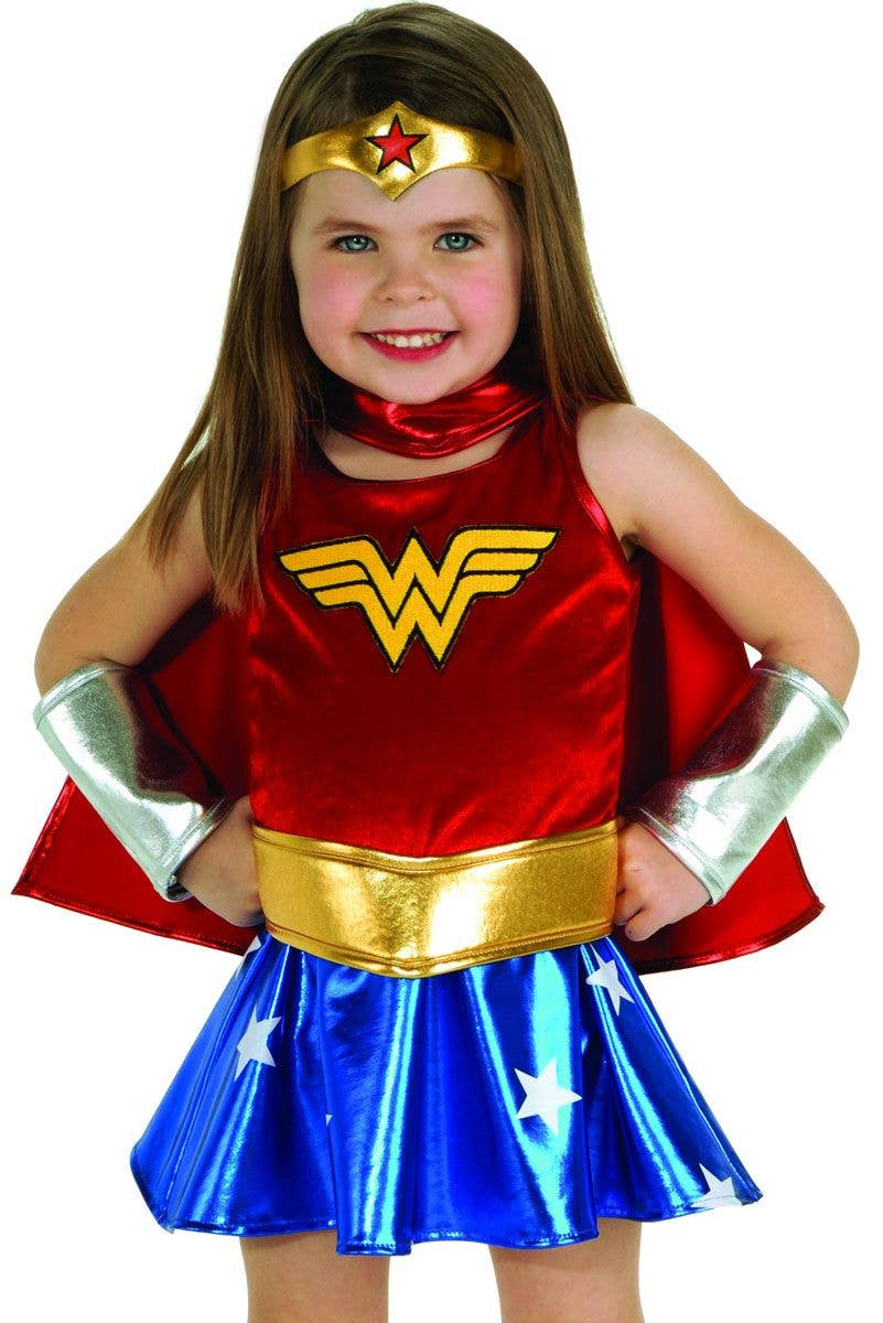 ... Wonder Woman girls toddler fancy dress costume close  sc 1 st  Heaven Costumes & Girls Wonder Woman Costume | Wonder Woman Toddlers Superhero Costume
