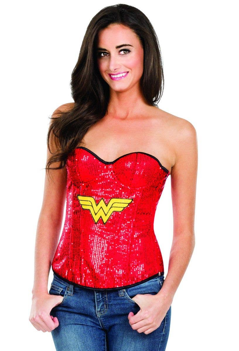 35488f1b53 Sexy Red Wonder Woman Fancy Dress Corset with Sequins