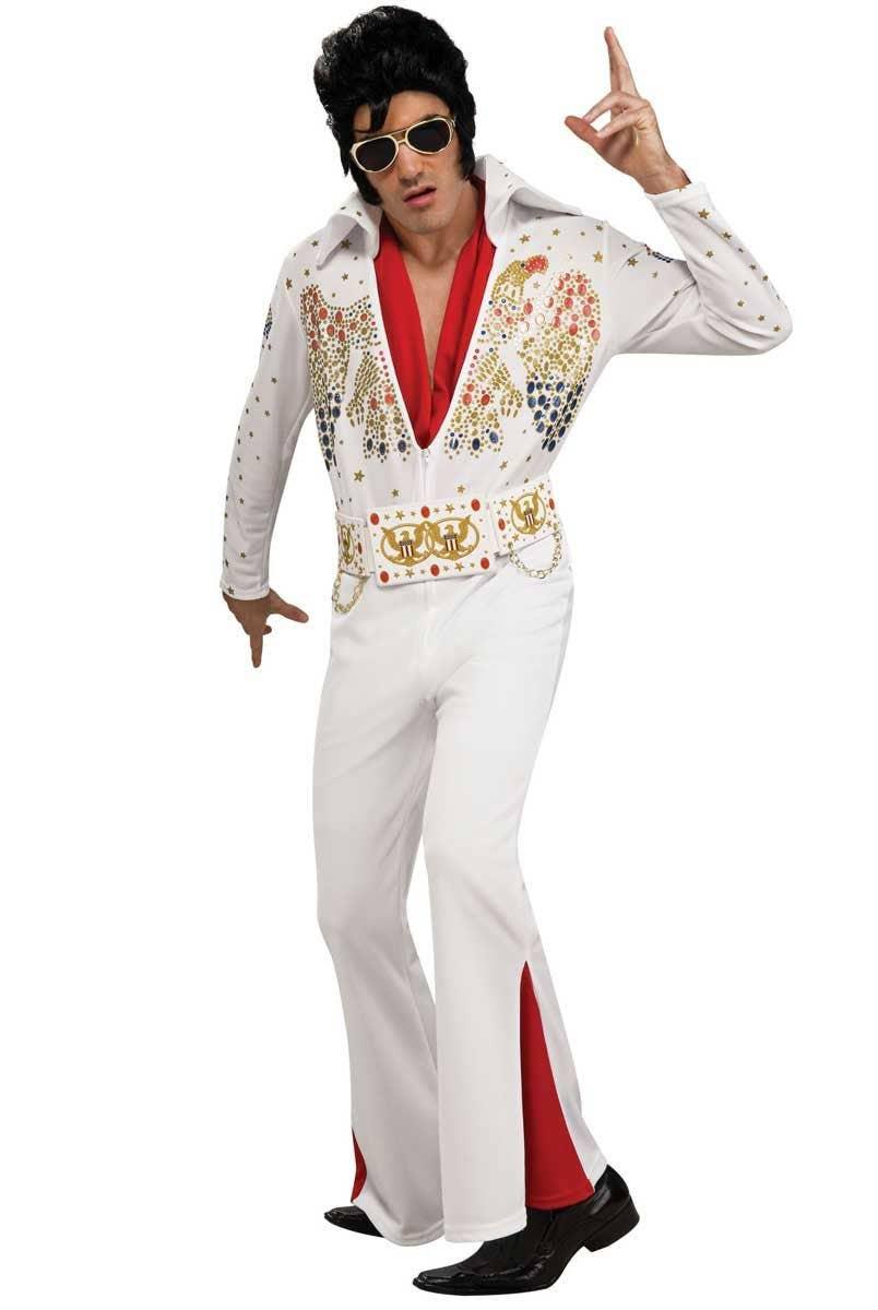 Elvis Presley Men s King Of Rock Costume, White Jumpsuit Elvis Costume 32f282acd303