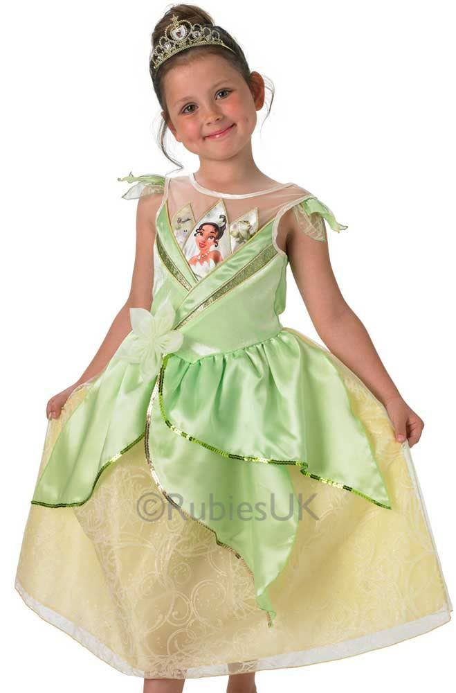 ... Princess and the Frog Girlu0027s Tiana Costume Front View  sc 1 st  Heaven Costumes & Princess Tiana Girls Costume | Princess and the Frog Kids Costume