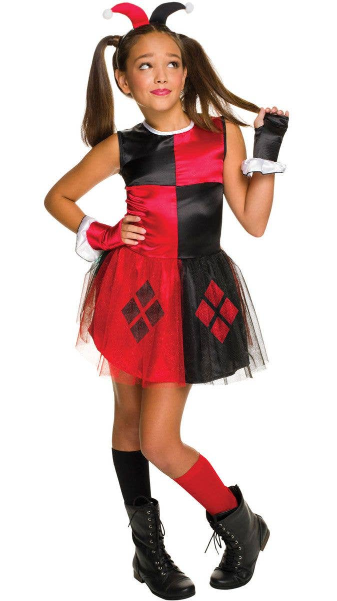 a23026a38cd21d Girls Classic Harley Quinn Superhero Fancy Dress Costume