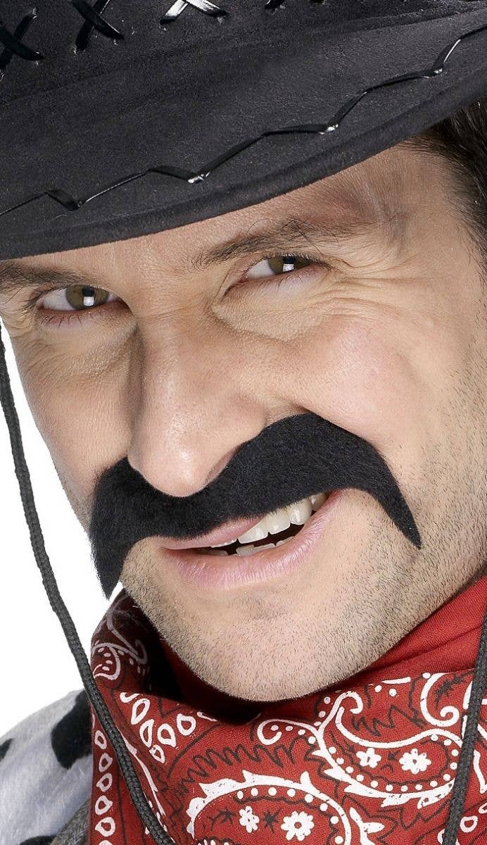 Stick On Fake Black Cowboy Moustache Costume Accessory d132c8ee8104