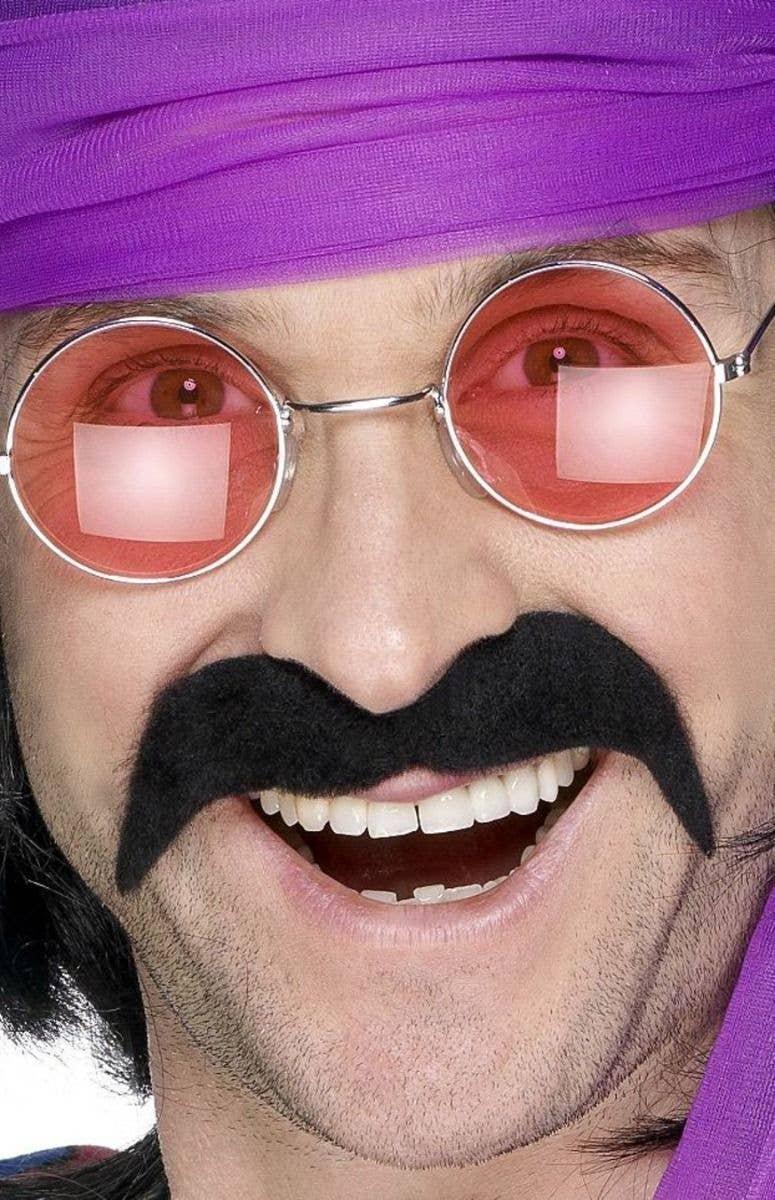 **SALE** Mens 70s 1970s Fancy Dress Black Tash Stick on Moustache Tache