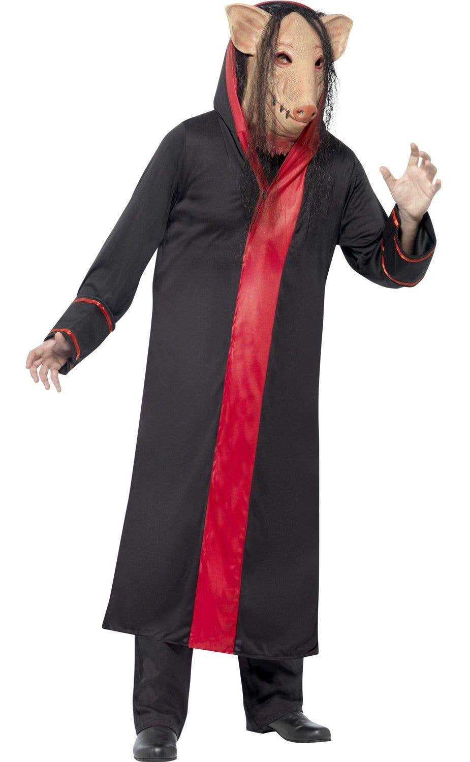 mens psycho killer pig saw movie black and red costume front view 2