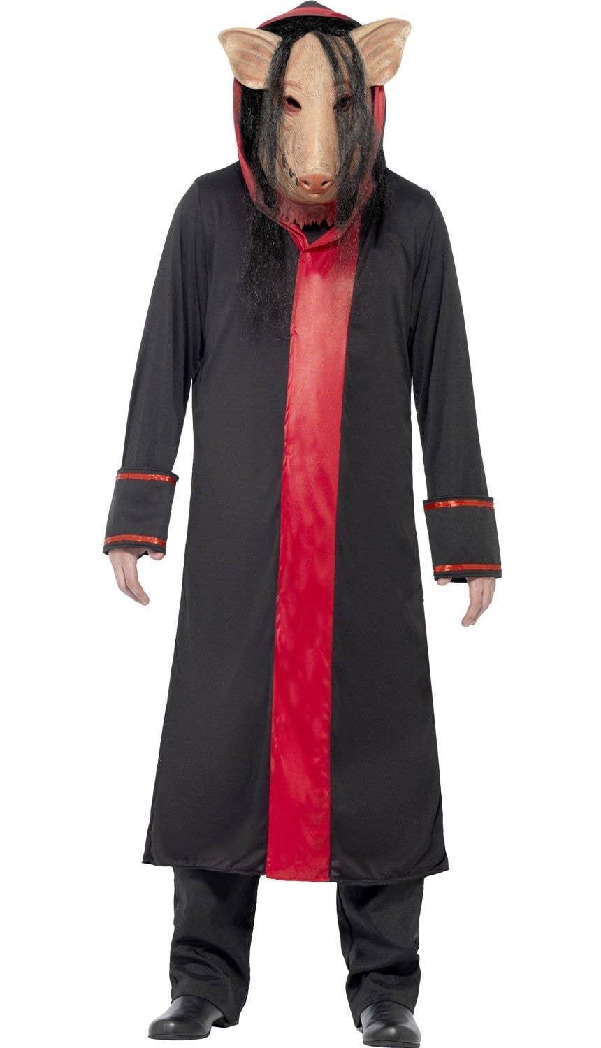 mens psycho killer pig saw movie black and red costume front view