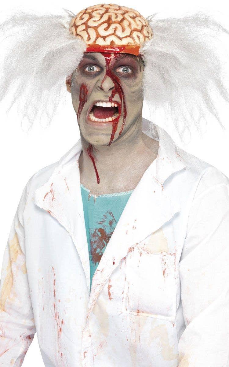 men's frizzy white wig | mad scientist doctor men's halloween wig