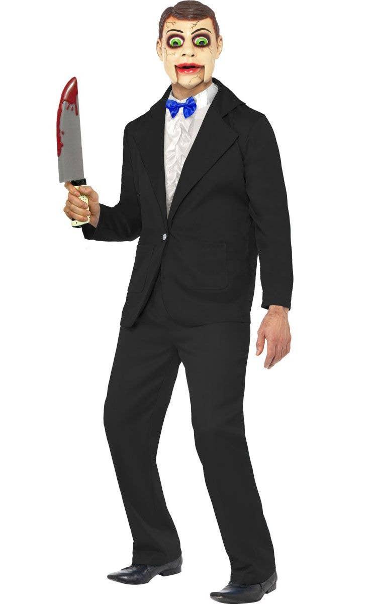 6ad84866b Men's Creepy Dummy Halloween Costume | Ventriloqust Dummy Costume