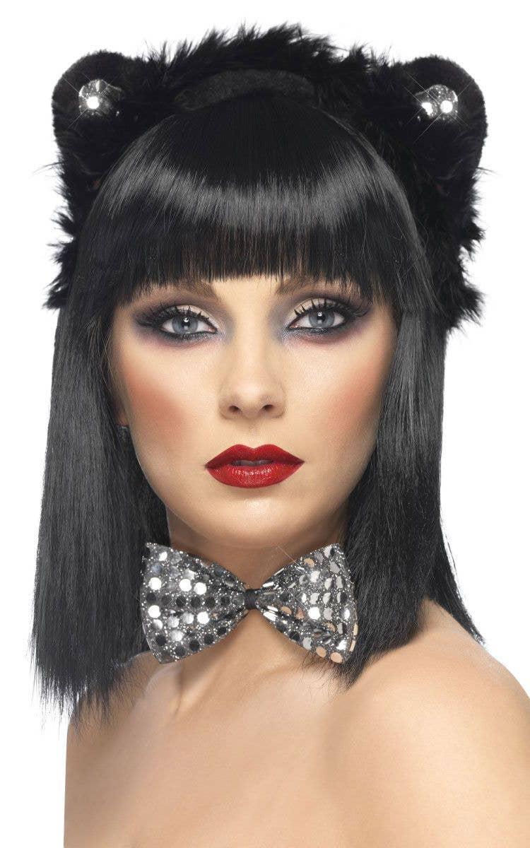 cfbf68ea120 Sequin Black Cat Ears with Silver Bow Tie