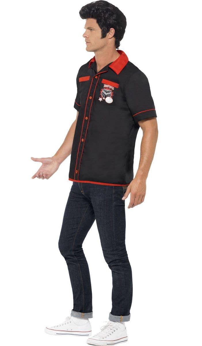 ... Menu0027s 1950u0027s Retro Bowling Shirt Costume Side  sc 1 st  Heaven Costumes & 1950u0027s Bowling Shirt Costume | Menu0027s 1950u0027s Fancy Dress Costume