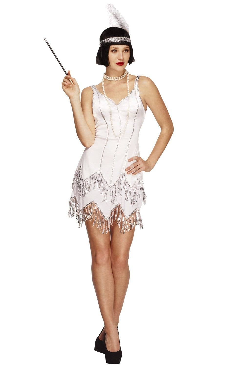 86a47fab36 White 1920's Flapper Women's Costume | Roaring 20's Gatsby Flapper
