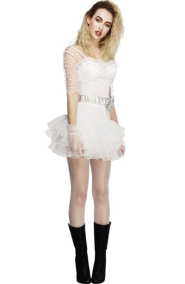 80u0027s Womenu0027s Material Girl Madonna Costume Front View  sc 1 st  Heaven Costumes & Material Girl Womenu0027s Costume | 1980u0027s Madonna Fancy Dress Costume