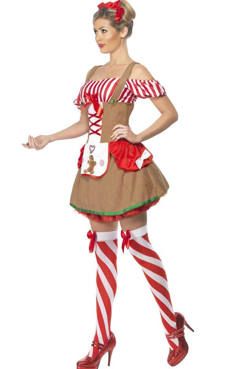 ... Sexy Womenu0027s Gingerbread Dress Up Costume Side Image  sc 1 st  Heaven Costumes & Gingerbread Womenu0027s Christmas Costume | Sexy Gingerbread Man Costume