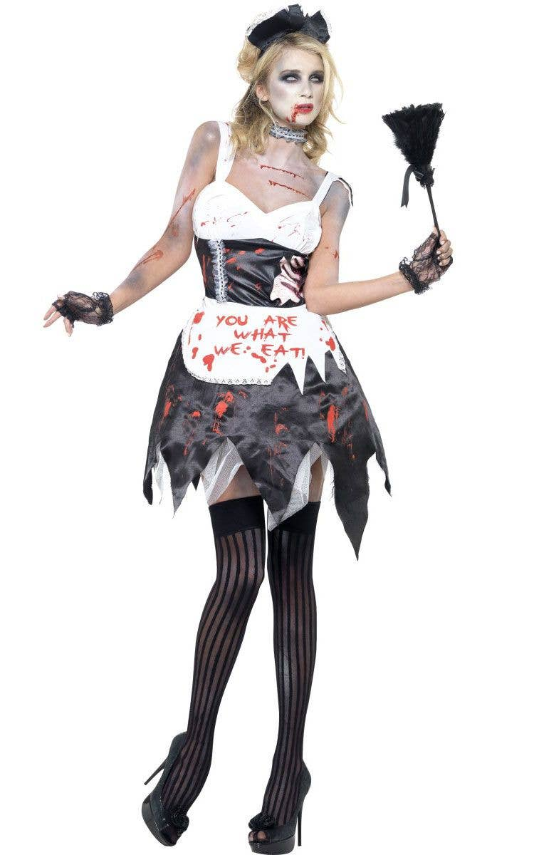 Halloween Zombie Costumes For Girls.Fatal French Maid Women S Zombie Costume