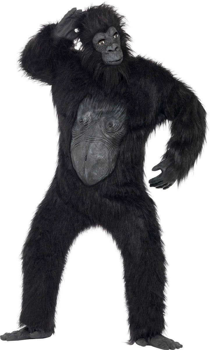 Menu0027s Deluxe Hairy Black Gorilla Costume Front View  sc 1 st  Heaven Costumes & Adultu0027s Deluxe Black Gorilla Costume | Gorilla Halloween Costume