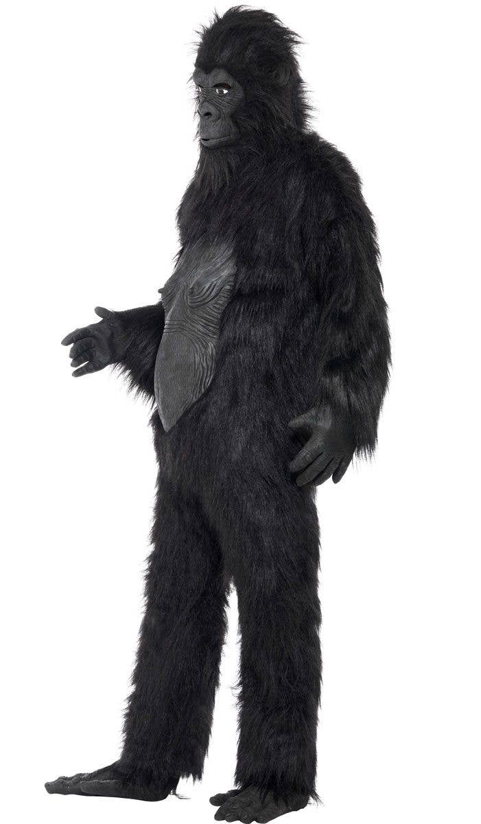 mens deluxe hairy black gorilla costume side view