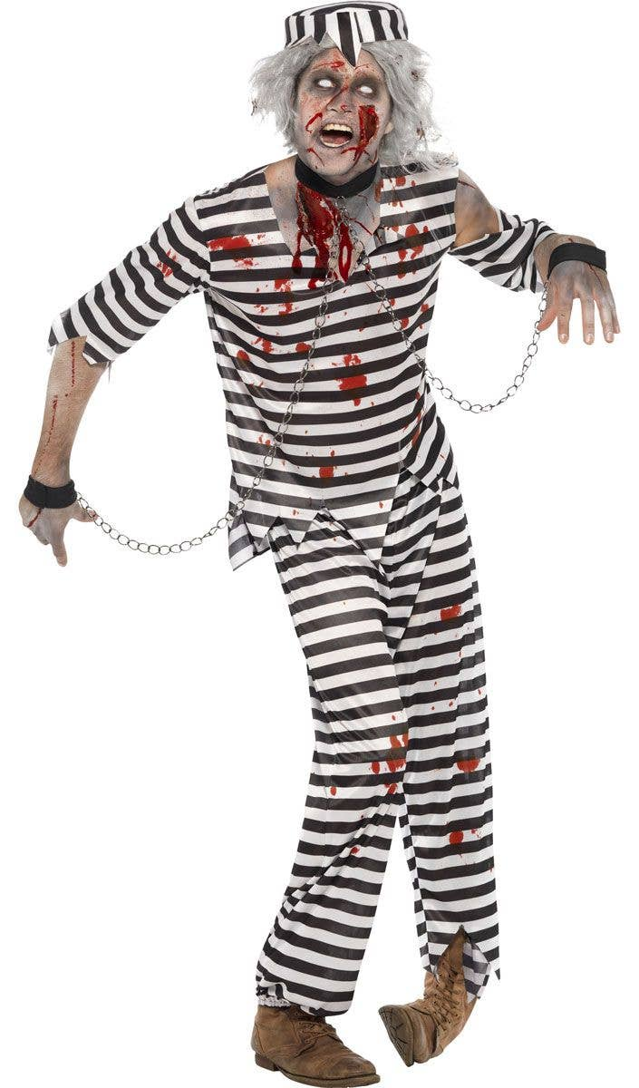 Menu0027s Zombie Convict Prisoner Halloween Costume Front View  sc 1 st  Heaven Costumes & Zombie Inmate Menu0027s Costume | Dead Prisoner Menu0027s Zombie Costume